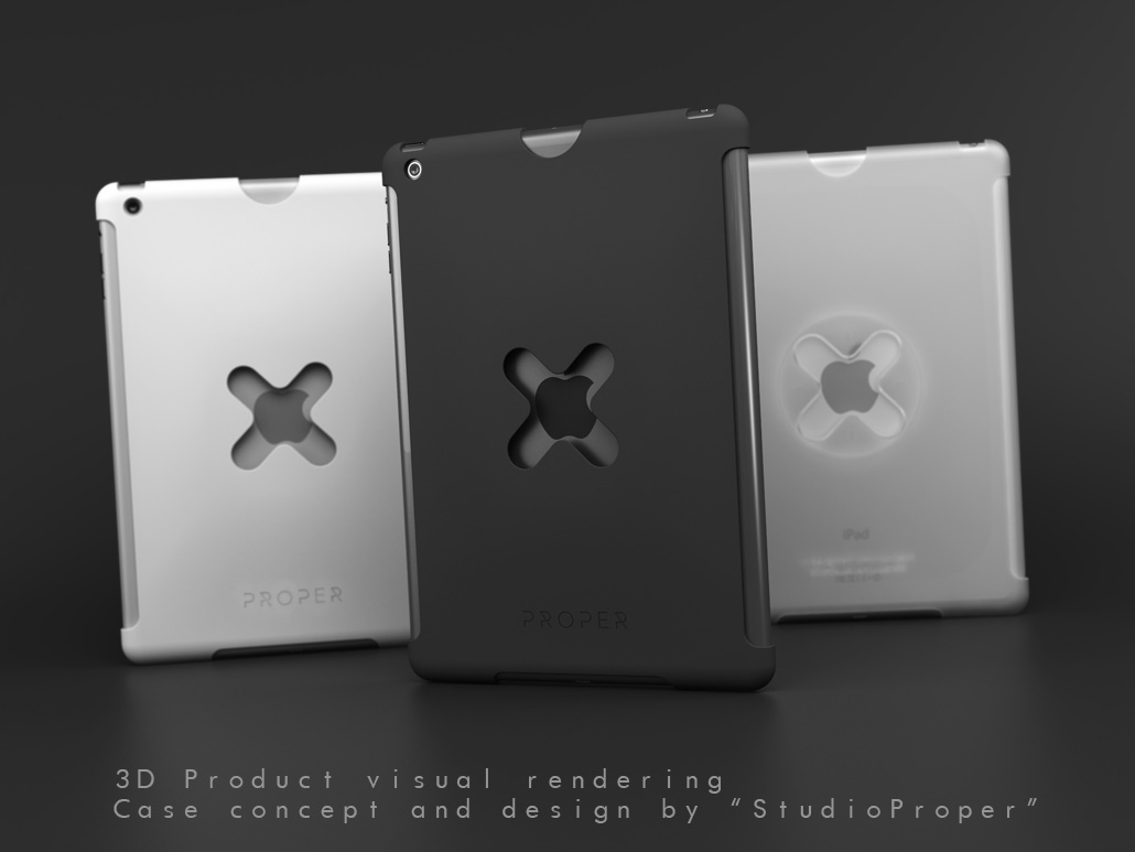 iPad case rendering, product visual